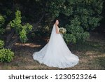 a beautiful bride with a long...   Shutterstock . vector #1230523264