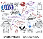 ufo aliens  collection of... | Shutterstock .eps vector #1230524827