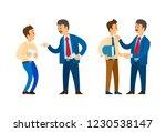 boss praising worker with...   Shutterstock .eps vector #1230538147