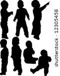 little boy silhouette isolated... | Shutterstock .eps vector #12305458