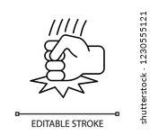 fist on table linear icon.... | Shutterstock .eps vector #1230555121