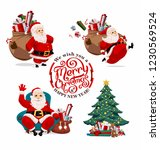 collection of cartoon santa... | Shutterstock .eps vector #1230569524