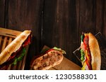 various deli sandwiches on top... | Shutterstock . vector #1230588301
