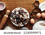 top view of delicious christmas ... | Shutterstock . vector #1230590971