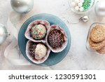 top view of delicious chocolate ... | Shutterstock . vector #1230591301