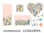 wild flowers and leaves set... | Shutterstock .eps vector #1230618904