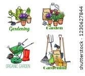 gardening banners. garden tools ... | Shutterstock .eps vector #1230627844