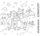Cute Winter Penguin Couple On...