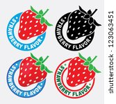 strawberry flavor seal   mark | Shutterstock .eps vector #123063451