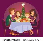 christmas family dinner. family ... | Shutterstock .eps vector #1230637477