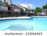 apartment complex pool | Shutterstock . vector #123066565