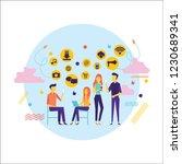 flat design of people addicted... | Shutterstock .eps vector #1230689341