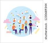 flat design of people addicted... | Shutterstock .eps vector #1230689344