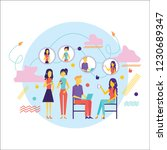 flat design of people addicted... | Shutterstock .eps vector #1230689347