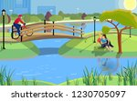 public park in a city with a... | Shutterstock .eps vector #1230705097