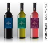christmas greetings wine bottle ... | Shutterstock .eps vector #1230742711