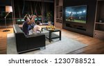 a family is watching a soccer... | Shutterstock . vector #1230788521