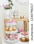 table with sweets decorated for ... | Shutterstock . vector #1230798217