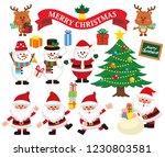 santa claus reindeer snowman... | Shutterstock .eps vector #1230803581