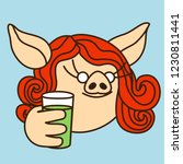 emoji with thirsty curly pig... | Shutterstock .eps vector #1230811441