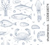 seamless pattern with seafood... | Shutterstock .eps vector #1230818074