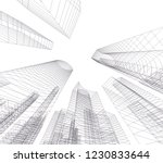 abstract architecture 3d  | Shutterstock .eps vector #1230833644