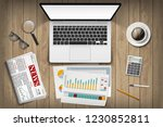 laptop with white screen and... | Shutterstock .eps vector #1230852811