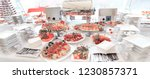 catering table set service with ... | Shutterstock . vector #1230857371