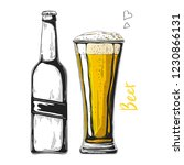 bottle of beer. glass with beer.... | Shutterstock .eps vector #1230866131
