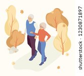 elderly couple in the autumn... | Shutterstock .eps vector #1230871897