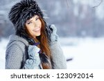 young woman winter portrait.... | Shutterstock . vector #123092014