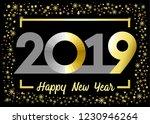 2019 golden glitter happy new... | Shutterstock .eps vector #1230946264