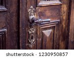 vintage metal door handle on a... | Shutterstock . vector #1230950857