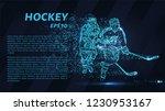 hockey of blue glowing dots.... | Shutterstock .eps vector #1230953167