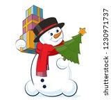 christmas snowman wearing a top ... | Shutterstock .eps vector #1230971737