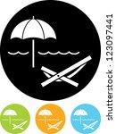 beach umbrella and lounger  ... | Shutterstock .eps vector #123097441