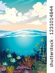 colorful coral reef with school ... | Shutterstock .eps vector #1231014844