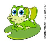hand drawn cartoon frog cute... | Shutterstock . vector #123105847