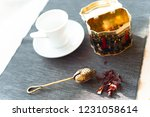 morning still life with colored ... | Shutterstock . vector #1231058614