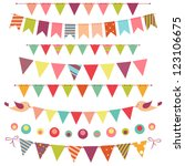 bunting and garland set... | Shutterstock . vector #123106675