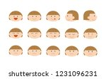 girl's faces with various... | Shutterstock . vector #1231096231