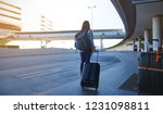 tourist of young woman and... | Shutterstock . vector #1231098811