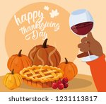 hand with cup wine and food of... | Shutterstock .eps vector #1231113817
