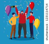 men happy celebrating party... | Shutterstock .eps vector #1231114714