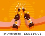 hands with bottles of beers... | Shutterstock .eps vector #1231114771