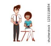 couple sitting with smartphones ... | Shutterstock .eps vector #1231118854