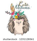 cute baby hedgehog cartoon hand ... | Shutterstock .eps vector #1231128361