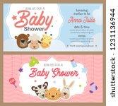 cute animal baby shower theme... | Shutterstock .eps vector #1231136944