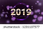 purple 2019 happy new year card ... | Shutterstock .eps vector #1231137577