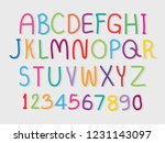 cute alphabet and numbers   Shutterstock .eps vector #1231143097